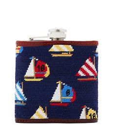 Brooks Brothers: Needlepoint Sailboat Flask (Navy)_$78