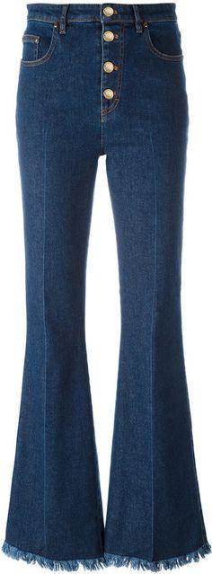 Sonia Rykiel - jean bootcut à ourlets frangés - women - coton/Spandex/Elasthanne - 40