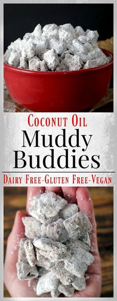 Dairy Free Muddy Buddies- easy, quick and the perfect snack. Gluten free, vegan, and irresistible!