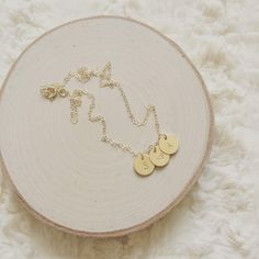 Gold filled Initial charm necklace Abbie gold filled discs