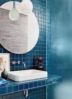 Blue tile in modern bathroom. Mid-century modern home offers fresh and inspiring details in Austin Modern Bathroom Decor, Bathroom Interior Design, Bathroom Furniture, Decor Interior Design, Bathroom Cabinets, Furniture Decor, Bathroom Ideas, Bath Ideas, Industrial Furniture