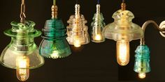 Decorating with Old Insulators | Glass Pin Insulator 240V Pendant and Wall lamps