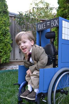 , Dr who wheelchair costume for Sci-Fi fans - one of the sweetest things I have ev. , Dr who wheelchair costume for Sci-Fi fans - one of the sweetest things I have ever seen! Dr Who, Wheelchair Costumes, Doctor Who Costumes, Parenting Done Right, Parenting Win, Tweed Blazer, Tweed Jacket, Eleventh Doctor, To Infinity And Beyond