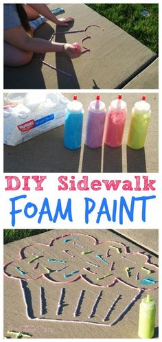 Sidewalk Foam Paint Kids will love this activity! Make DIY Sidewalk Foam Paint, perfect summer boredom buster for the kids!Kids will love this activity! Make DIY Sidewalk Foam Paint, perfect summer boredom buster for the kids! Babysitting Activities, Summer Activities For Kids, Summer Kids, Toddler Activities, Diy For Kids, Kids Fun, Fun Crafts For Teens, Diys For Summer, Kids Outdoor Crafts