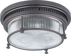 Maxim Lighting Maxim 25000CLBZ Hi-Bay 2-Light Flush Mount in Bronze with Clear Halophane glass. MX-25000CLBZ
