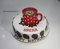 Homemade eggless handcrafted, personalized, designer Coffee theme small customized 3D fondant birthday cake for coffee lover at Aundh, Pune