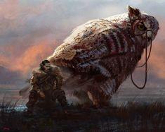 Imaginary Superb owl by Omar Samy Fantasy Male, Fantasy Warrior, Fantasy World, Historia Natural, Man Of War, Tumblr, Traditional Paintings, Monster Art, Fantasy Inspiration