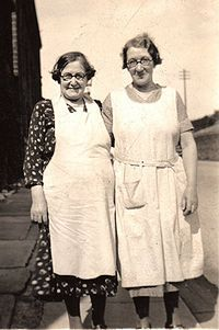 My great grandmother Elizabeth Rigby (mother of 18 )on the right and great aunt