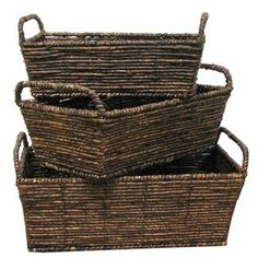 Dark Brown Rectangle Maize Baskets with Handles | Shop Hobby Lobby 17X10X7