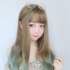 Cute Long Khaki and Blue Gradient Wig Cute Japanese Girl, Cute Korean Girl, Asian Girl, Fille Anime Cool, Kawaii Wigs, Anime Cosplay Girls, Korean Makeup Look, Grunge Girl, Aesthetic Hair