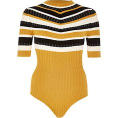 Yellow stripe high neck bodysuit €33.00