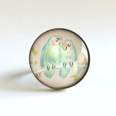 Ring  Watercolor Painting  Pale Green Lovebirds by TresAudra, $26.00