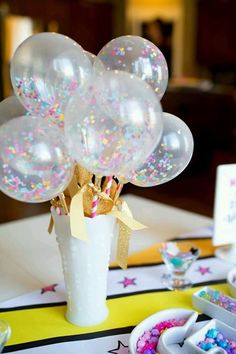 Party confetti in balloons