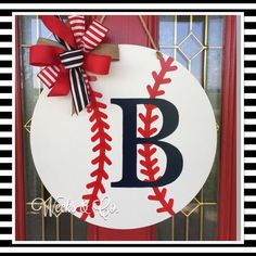 Baseball Door Hanger Tee Ball Front Door Team by WeeksAndCo Front Door Signs, Porch Signs, Front Door Decor, Wreaths For Front Door, Front Porch, Painted Doors, Wooden Doors, Wooden Signs, Baseball Wreaths