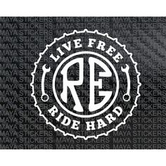 live free ride hard custom royal enfield stickers