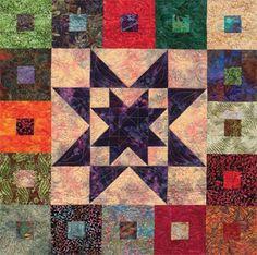 Detail of Purple Daze batik quilt--free download