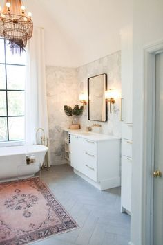 marble hex tile in bathroom