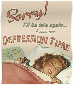 Vintage Aesthetic Discover Depression Time Poster by binchcity Depression Time Poster Vintage Pop Art, Retro Art, Bedroom Wall Collage, Photo Wall Collage, Vintage Humor, Vintage Comics, Aesthetic Vintage, Pink Aesthetic, Clueless Quotes