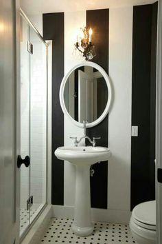 Black and white bathroom design.