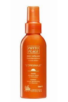 Phytoplage « L'originale » Laboratoires Phytosolba - coiffures d'été 2007 - Une huile à la cire d'olive, nourrissante, aux extraits de calendula, saule et romarin, hydratants, avec un filtre UV associé à un polymère anti-UVB, protecteur, qui apporte...