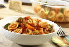 Tortellini Vegetable Toss - Cheesy ravioli and colorful vegetables are laced with Garden Combination Pasta Sauce for an easy, satisfying two-step supper. Tortellini, Pasta Recipes, Dinner Recipes, Pasta Meals, Quick Recipes, Soup Recipes, Dinner Ideas, Vegetable Recipes, Vegetarian Recipes