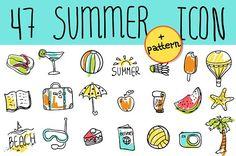 Summer & Travel doodle icon by iriskana on @creativemarket
