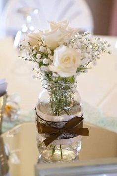 Rustic Country Mason Jar Centerpiece by by iris-flower