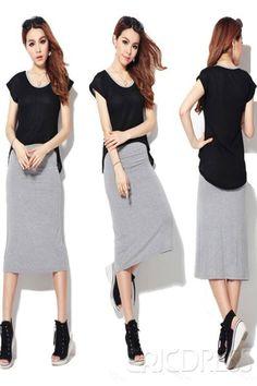 New Fashion Korean Style Fake Two Pieces Dress Skirt. #beautywear