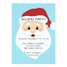 Santa Face Blue Christmas Holiday Party Invitation - invitations custom unique diy personalize occasions