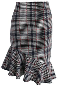 Asymmetry Tweed Frill Hem Pencil Skirt in Red - New Arrivals - Retro, Indie and Unique Fashion