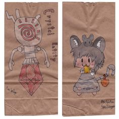 It's take your children to work day. So my sons made sketch lunch bags for me.  20140424#Sketch #lunchbags from my #sons. #videogames #art #drawing #anad #school #paint #markers #doodles #kids #bag #WarioWorld #CrystalEntity #TouhouProject #Nazrin #cartoon #anime #japan #manga #sketch #sketchlunchbag #MarioBros #VideoGames #cartoon #MacOS #PC #iOS #Android #app #XBox #Nintendo #WiiU #GameCube  http://en.m.wikipedia.org/wiki/Touhou_Project