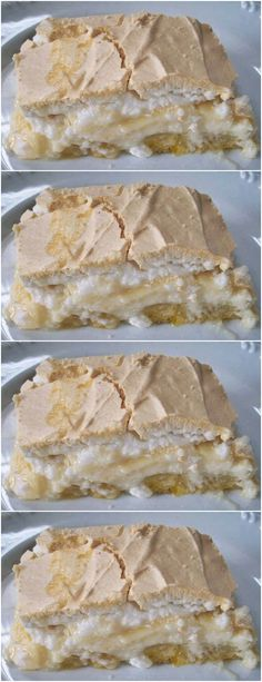 Uauu Torta de banana com creme e suspiro, Delicioso! Delicious Desserts, Dessert Recipes, Yummy Food, Chef Recipes, Cooking Recipes, Cafe Food, Frozen Desserts, Food Photo, Food And Drink