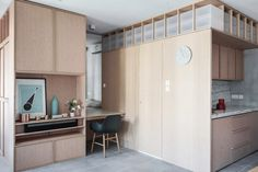 JAAK reconfigures Hong Kong apartment with space-saving cabinetry Minimalist Apartment, Minimalist Home Decor, Cabinet D Architecture, Interior Architecture, Luxury Interior, Small Space Living, Small Spaces, Open Plan Apartment, Home Modern