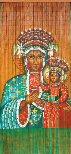 Hand Painted Black Madonna of Czestochowa Bamboo Beaded Curtian