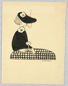 Vertical rectangle. Woman in black dress and hat seated left, behind a table with checkered cloth. A cigarette in her mouth and martini on the table.