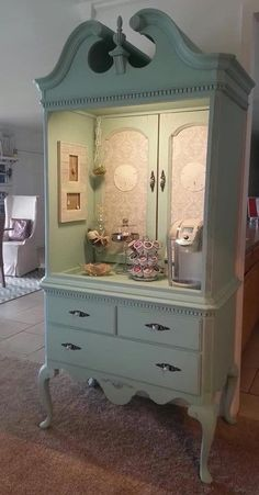 I love the idea.. I'd do this with an older, more detailed, cabinet and painted in a different color... maybe add a lead paned stained glass wall or detail somewhere .. the sides or the doors.. #armoiredresserfurniture #Shabbychicfurniture