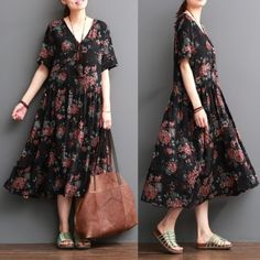 V neck floral cotton dresses maternity maxi dress sundressThis dress is made of cotton linen fabric, soft and breathy, suitable for summer, so loose dresses to make you comfortable all the time.Measurement: One Size: length 111cm / 43.29