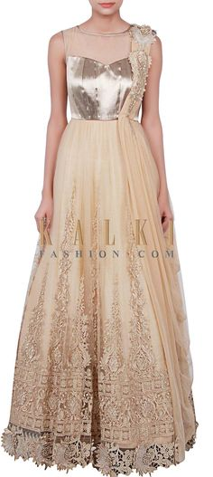 Buy Online from the link below. We ship worldwide (Free Shipping over US$100) http://www.kalkifashion.com/beige-gown-adorn-in-zari-embroidery-only-on-kalki.html