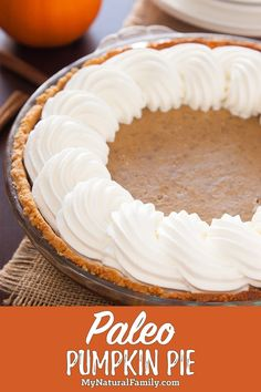 Paleo pumpkin pie is super easy to make and involves only a few ingredients. The pumpkin custard is firm and full of autumn spice! The topping is made of a slightly honey sweetened coconut cream that goes so nicely with the almond crust. Paleo Pumpkin Pie, Pumpkin Custard, Pumpkin Pie Recipes, Pumpkin Pumpkin, Organic Pumpkin Pie Recipe, Pumpkin Pie Coconut Milk, Paleo Apple Pie, Canned Pumpkin, Pumpkin Puree