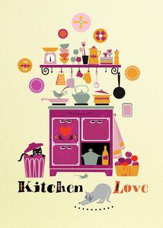 Love Kitchen-Illustration by sevenstar on Etsy https://www.etsy.com/listing/177203003/love-kitchen-illustration