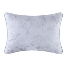 Eliza Lace Blue Accent Pillow Cottage White Toile Butterflies Dragonfly