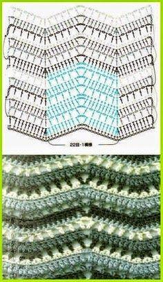 Punto zig zag al crochet Crochet Diagram, Crochet Chart, Crochet Motif, Crochet Round, Love Crochet, Diy Crochet, Crochet Stitches Patterns, Crochet Afghans, Knitting Patterns