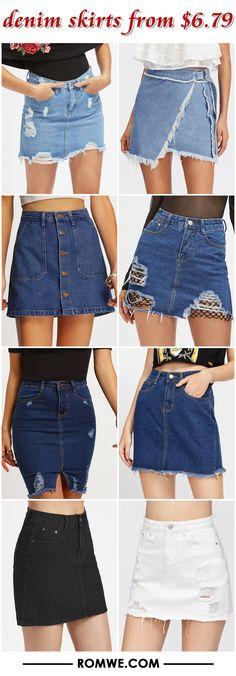 denim skirts from $6.79 - romwe.com