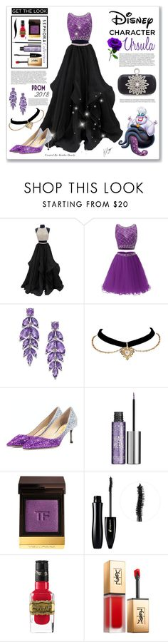 """Ursula Inspired : Disney's The Little Mermaid <3"" by keisha-polyvore ❤ liked on Polyvore featuring Urban Decay, Tom Ford, Lancôme, Sephora Collection, Yves Saint Laurent, Disney, Prom, disney, littlemermaid and ursula"