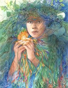 ÁINE | Irish goddess of summer, wealth and sovereignty. She is associated with midsummer and the sun, and is sometimes represented by a red mare. She is the daughter of Egobail, the sister of Aillen and/or Fennen. As the goddess of love and fertility, she had command over crops and animals and is also associated with agriculture.