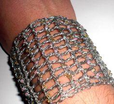 Silver Wire Crochet Bracelet Wire Crochet by HelenHandmadeJewels, €50.00
