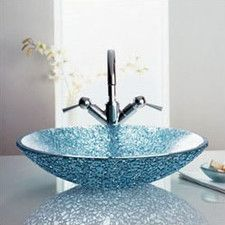 Rock Ice Round Glass Vessel Bathroom Sink