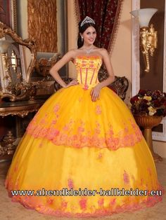 Orange Gelbes Trägerloses Sissi Kleid Wolumen Abendkleid Ballkleid Brautkleid