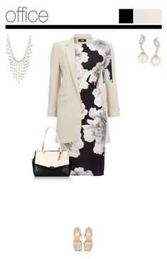 Office outfit: Beige - Floral by downtownblues on Polyvore #officewear #floral #floraldress