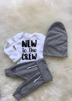 Baby Boy Coming Home Outfit,baby joggers, newborn sweatpants, new to the crew, slouchy baby beanie, newborn boy coming home outfit by cobaltandcoral on Etsy https://www.etsy.com/listing/557909447/baby-boy-coming-home-outfitbaby-joggers